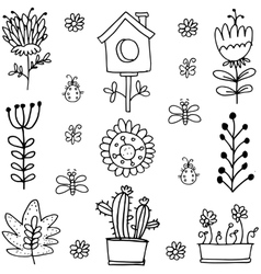 Doodle of spring set flower vector