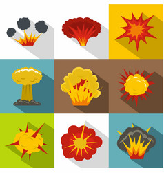 explosion icon set flat style vector image