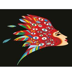 Fantastic Woman Head vector image vector image