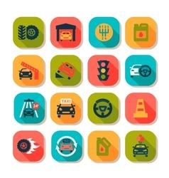 Flat auto icons vector