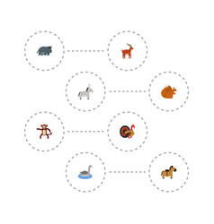 flat icons hippopotamus pony chipmunk and other vector image
