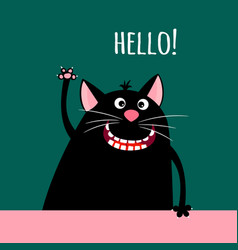 Greeting card with smiling cartoon cat vector