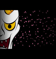 hanya mask evil ghost face on black with sakura vector image