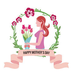 Happy mothers day - woman bouquet flowers crown vector
