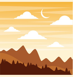 Landscape sunset in the mountains crescent moon vector