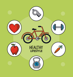 Light green poster of healthy lifestyle with vector