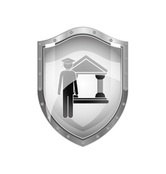Metallic shield of lawyer with graduation hat vector