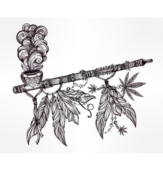Native indian cannabis smoking pipe of peace vector