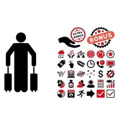 Passenger Baggage Flat Icon with Bonus vector image