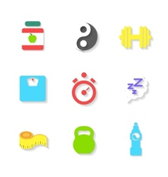Set of Flat Fitness Icons vector image vector image