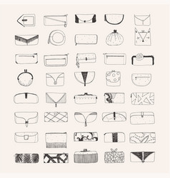 set of hand drawn clutches and purses vector image vector image