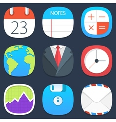 Set of office mobile icons in flat design vector image