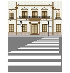 Street zebra crossing scene vector