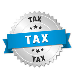 Tax 3d silver badge with blue ribbon vector