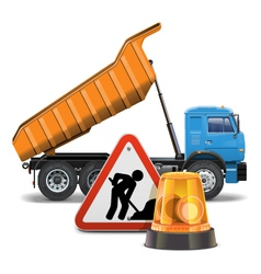 Tipper with sign and beacon vector