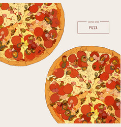 top view of pizza sketch vector image vector image