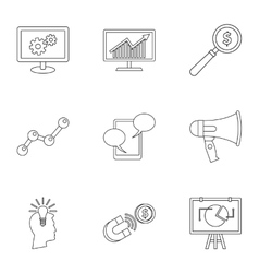 Types of advertising icons set outline style vector image
