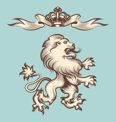 vintage engraving lion with crown vector image vector image