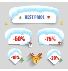 Winter design Christmas sale stickers discounts vector image