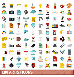 100 artist icons set flat style vector image