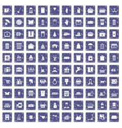 100 box icons set grunge sapphire vector