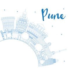 Outline pune skyline with blue buildings vector