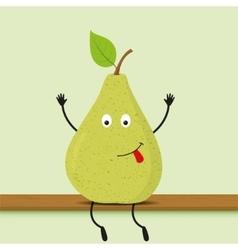 Funny cartoon green pear vector image