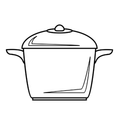 Enameled pot icon outline style vector