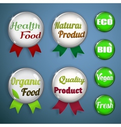 Organic labels badges and stickers from glass vector