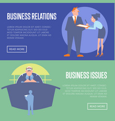 Business relations and business issues banners vector
