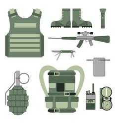 Military weapon guns symbols armor set forces vector