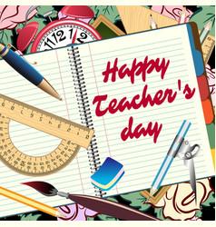 Happy teachers day greeting card vector