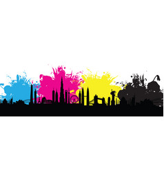 Cmyk building cityscape background splash vector
