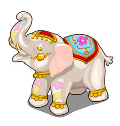 Figurine of indian white elephant isolated vector