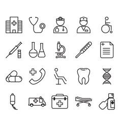 Thin line medical icon set vector