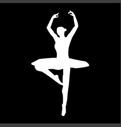 Ballet dancer it is the white color icon vector