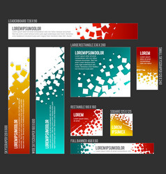 Banner templates collection with abstract square vector