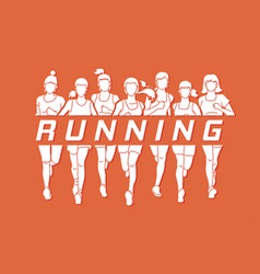 Marathon runners group of women running with text vector
