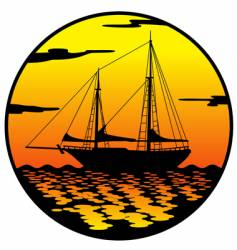 Ship at sunset vector