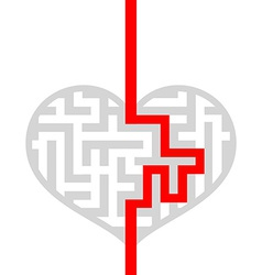 Maze as human heart vector