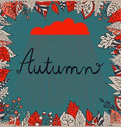 Autumn floral background with leaves text autumn vector