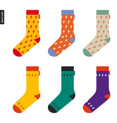 Set of socks with flash pattern original hipster vector