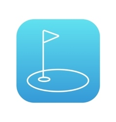 Golf hole with flag line icon vector
