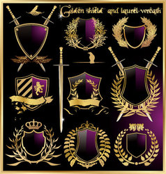 Golden shield and laurel wreath vector