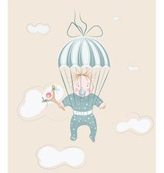 parachuting little boy with lollipop vector image
