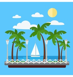 Seaside promenade with palm trees and yacht vector