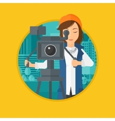 Camerawoman with movie camera on tripod vector