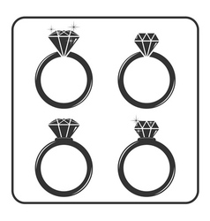 Diamond engagement ring icons set 2 vector