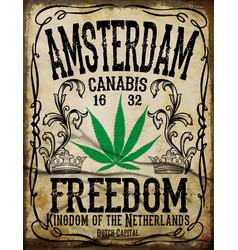 amsterdam vintage poster vector image
