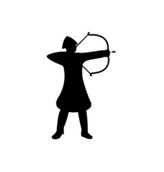 Archer warrior silhouette on white background vector